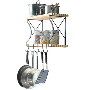 2 Tier Kitchen Shelf With 4 Hooks