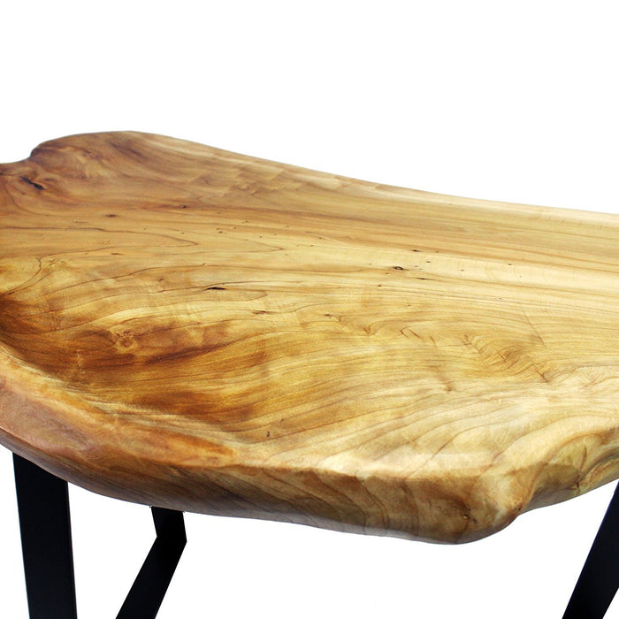 "Live Edge Cedar Wood Bench with Metal Legs 29"" Long"