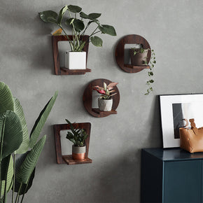 WELLAND 2 Pack Wooden Floating Shelves Wall Mounted Planter Holder Shelf Wall Decor Hanging Display Shelf