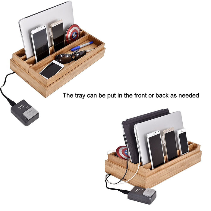 Eco-Friendly Bamboo Multi Device Cords Organizer Stand Charging Station and Drawer Organizers