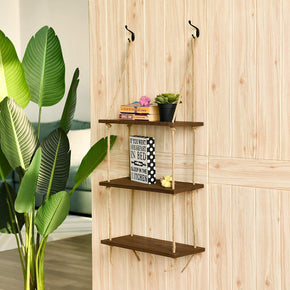 3-Tier Jute Rope Hanging Shelves