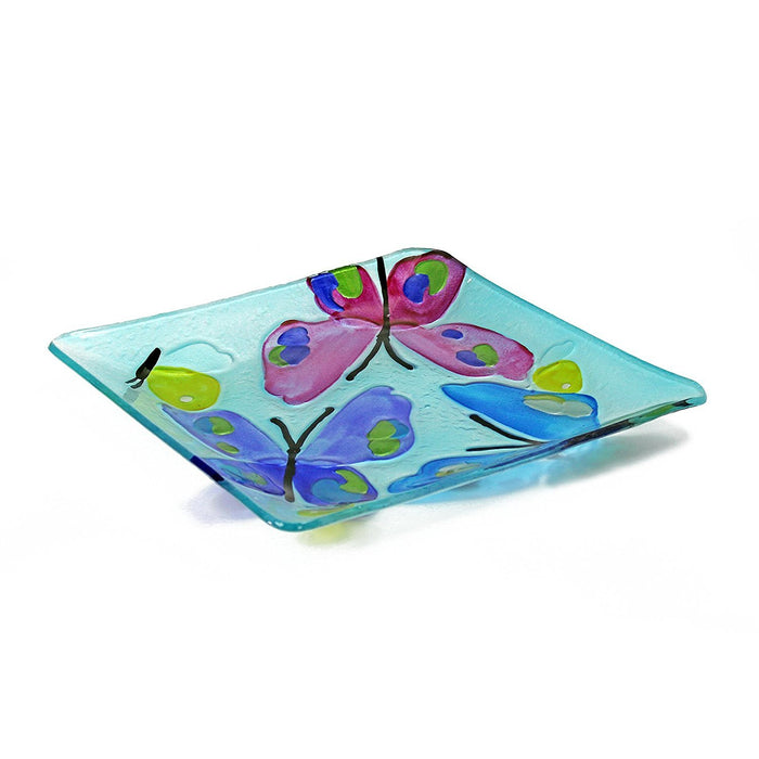 Gift Pack Set of 3 Hand Painted Rectangle Glass Tray and Glass Dessert Serving Plates Rectangular Serving Tray, Butterfly Pattern