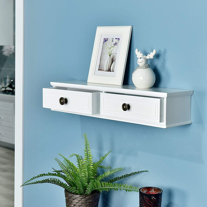 Wall-Mounted Storage Shelf with 2 Drawers, Entryway Wall Shelf, A/V Components and other Media Accessories