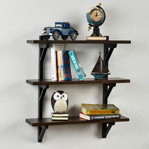 WELLAND 3 Tier Rustic Pine Wood Wall Shelf