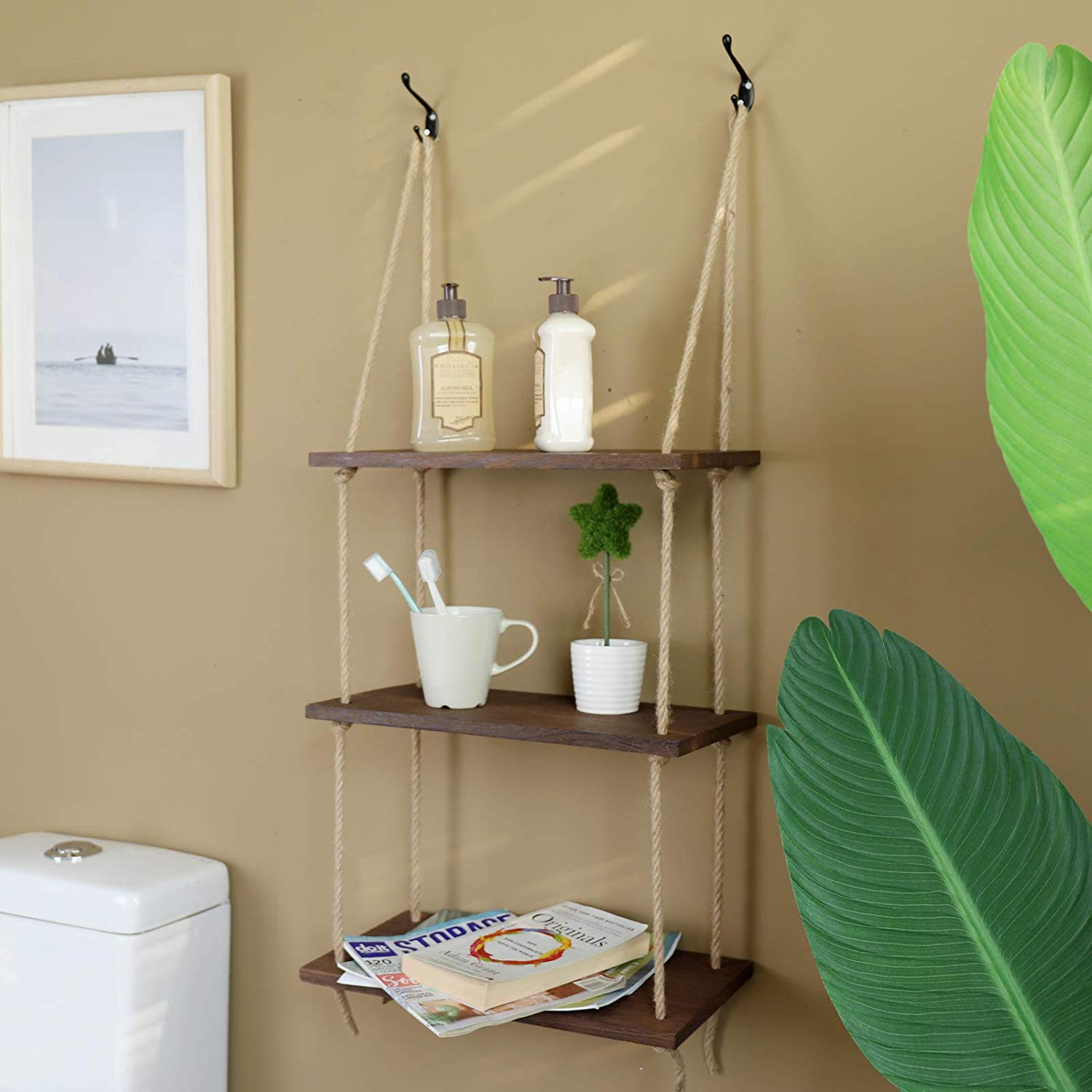 3 Tier Jute Rope Hanging Shelves