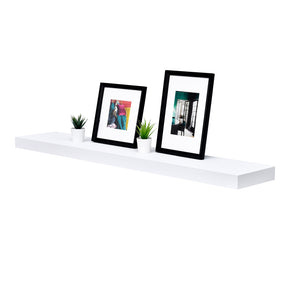 "WELLAND White Mission Floating Shelves for Wall, Bathroom Wall Mount Shelves, Wood Modern Display Shelves, Book Shelves,for Bedroom,Living Room and Kitchen 48""L x 9.25""D x 2""T"