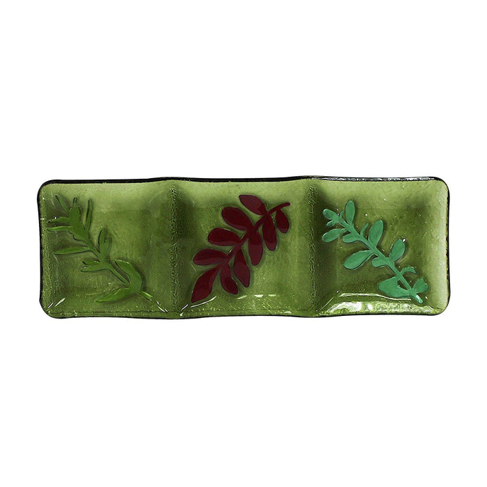 Hand Painted Decorative Glass Dish, 3 Sections, Leaf Pattern, Rectangle