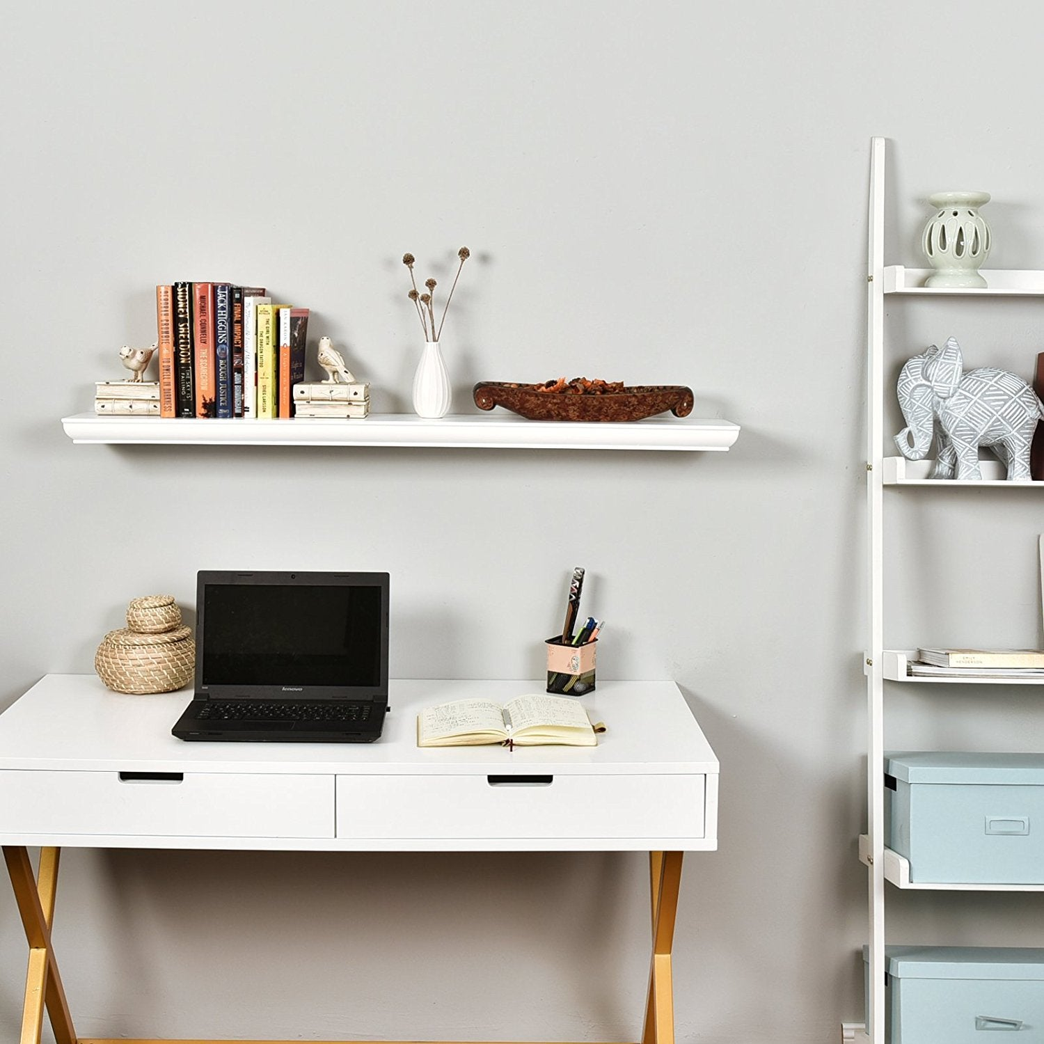 20 W  x 6 D x 1.5 T Inch Floating Wall Shelf in Black Espresso and White Finish