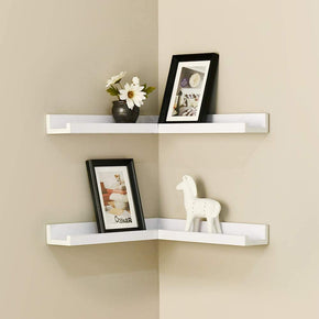 16 Inch Corner Picture Ledge set of 2, Floating Corner Shelves, White