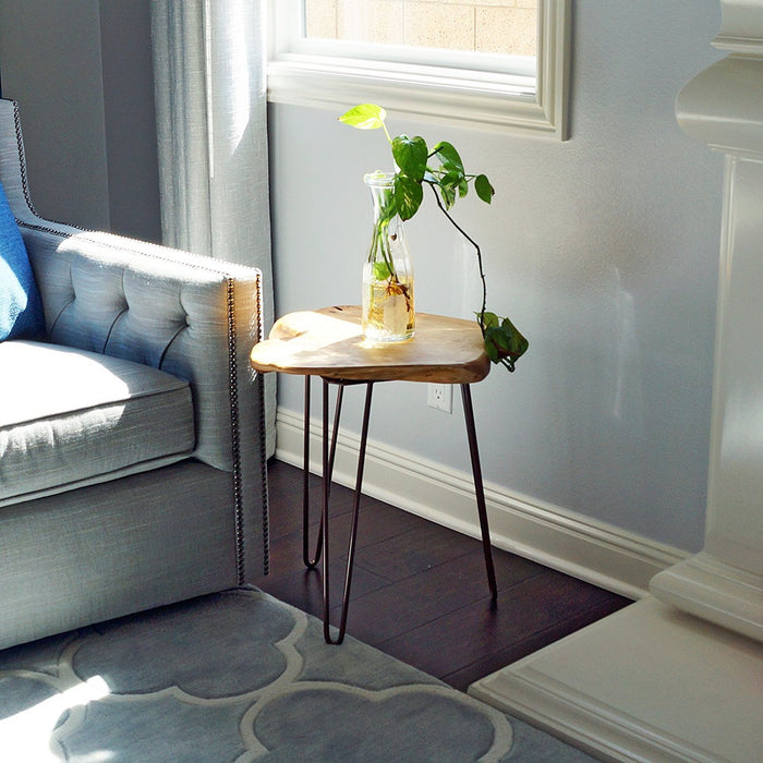 Cedar Wood Stump End Table with Hairpin legs