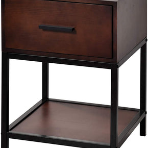 1-Drawer Nightstand Solid Wood End Table Side Table Bedside Storage for Bedroom Livingroom,Walnut
