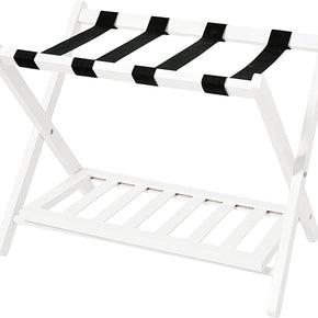 WELLAND Wood Collapsible Foldable Luggage Rack Holder with Shelf Suitcase Luggage Stands for Guest Room, White