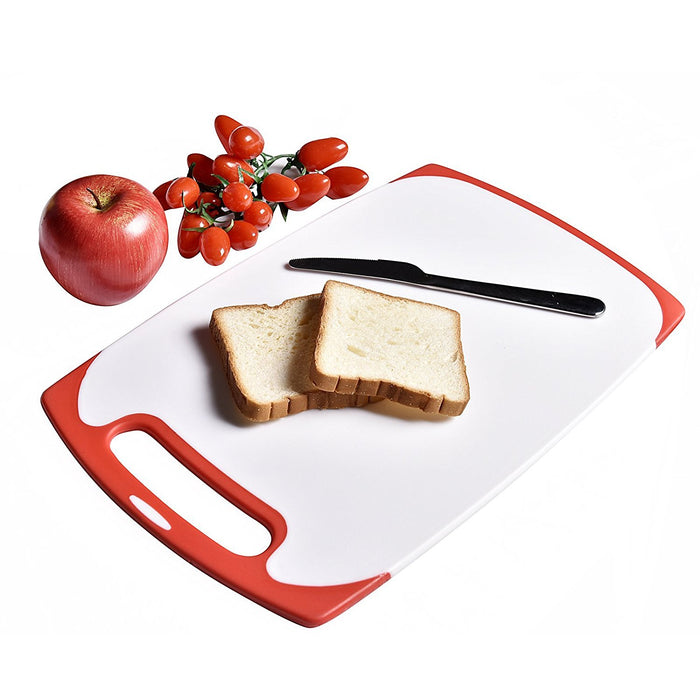Red Silicone Edged 3-Piece Nonslip Plastic Kitchen Cutting Board Set Chopping Borad with Non Skid Handle