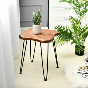 Natural Edge Side Table, Rustic Pinewood End Table