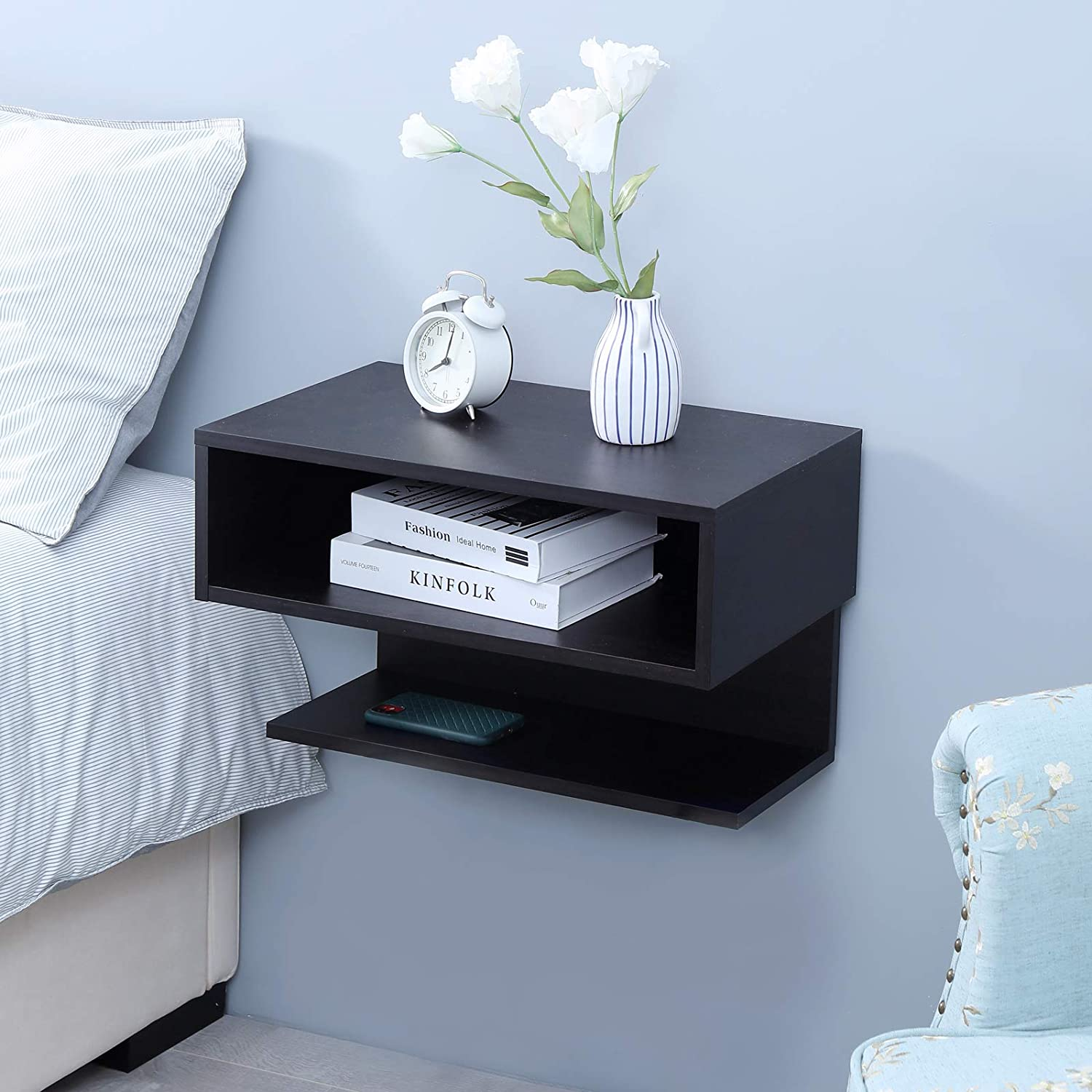 Floating Nightstand Side Table Wall Mounted Shelf With Drawer Storage Wellandstore