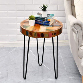 WELLAND Side Table Reclaimed Wood 3D Circle End Table