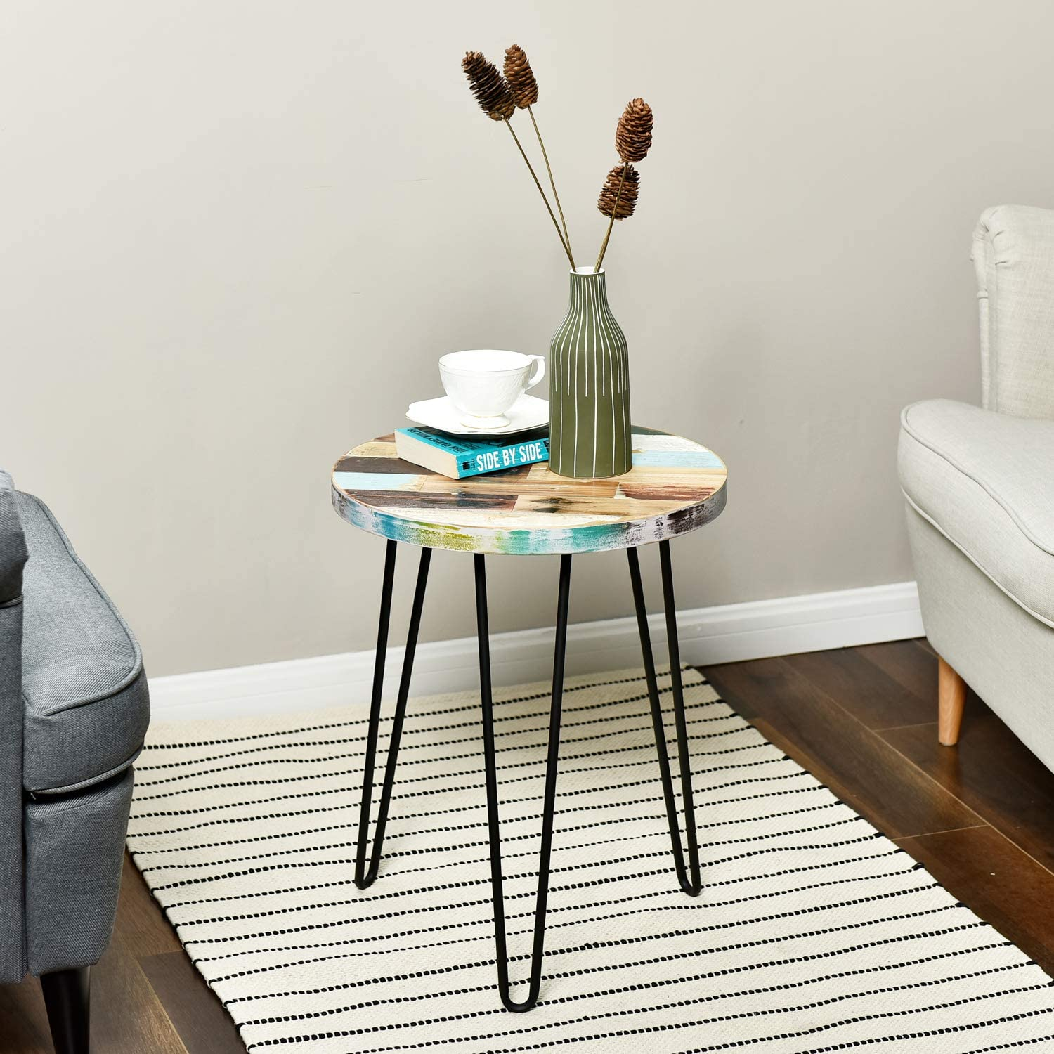 Reclaimed Wood Round Side Table Plant Stand Accent Table Wellandstore
