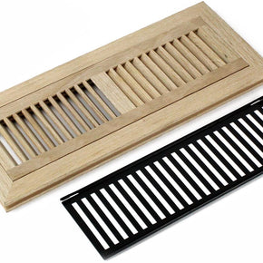 "WELLAND 4 X 14 Inch Red Oak Wood Flush Mount Floor Register Vent Cover Grille Unfinished with Damper, 3/4"" in Thickness"