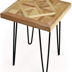 Square Old Elm End Table with Metal Stand,Diamond Shape Pattern