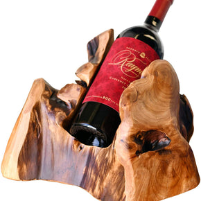WELLAND Tree Stump Wine Rack, 1-Bottle Rustic Cedar Wood Tabletop Wine Bottle Holder | Natural Edge, Irregular Shape,