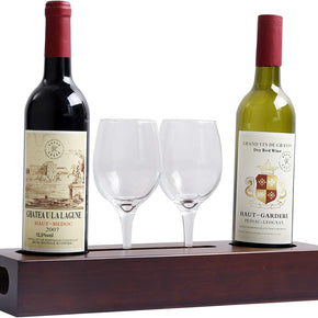 "Wood Wine Tray 15"", Cellar Party Serving Tray Server Rack Wine Glass Holder"