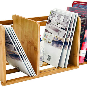 Bamboo Desktop Bookshelf Small Adjustable Desk Storage Organizer