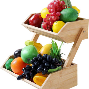 WELLAND Countertop Fruit Basket Bowl for Kitchen Dining Table, 2 Tier Bamboo Bread, Vegetable, Snack Storage