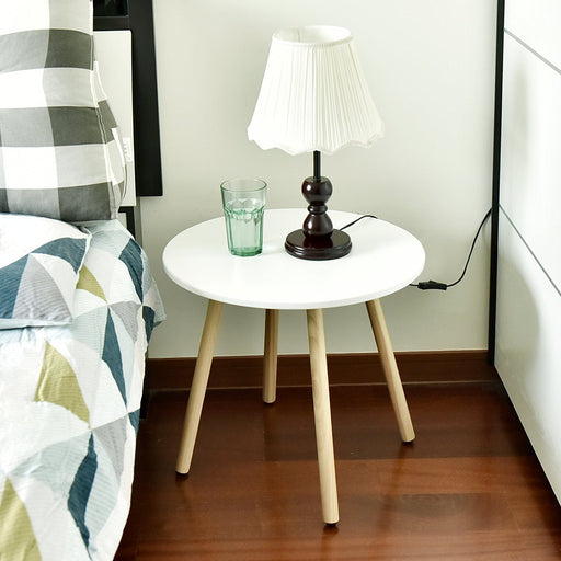 Nesting Wooden End Table, Modern Round Coffee Table, Environmentally Friendly Living Room Side Table for Magazines Books & Plants,Approx 18-Inch Tall, White