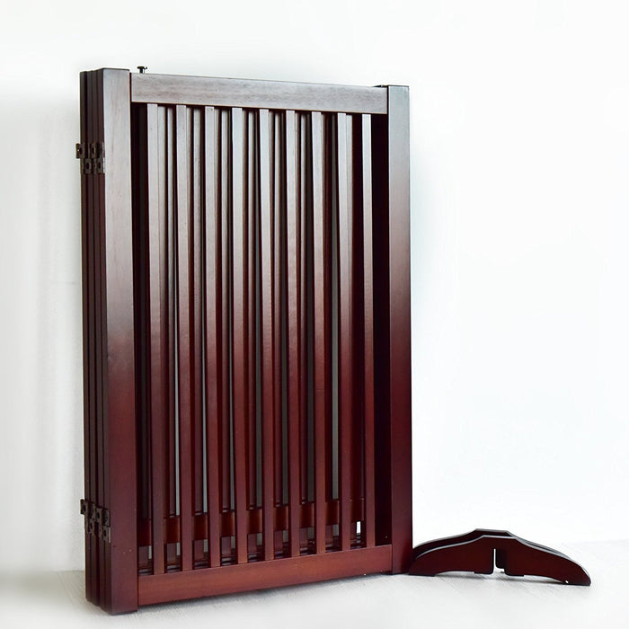 Freestanding Wood Pet Gate w/ Walk Through Door, 88-Inch, Cherry