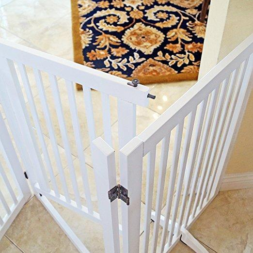 Freestanding Wood Pet Gate with Walk Through Door, 66-Inch, White
