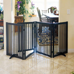"32"" Freestanding Wood Pet Gate With Walk Through Door, 4 Panel Expands Up to 88"" Wide, Espresso"