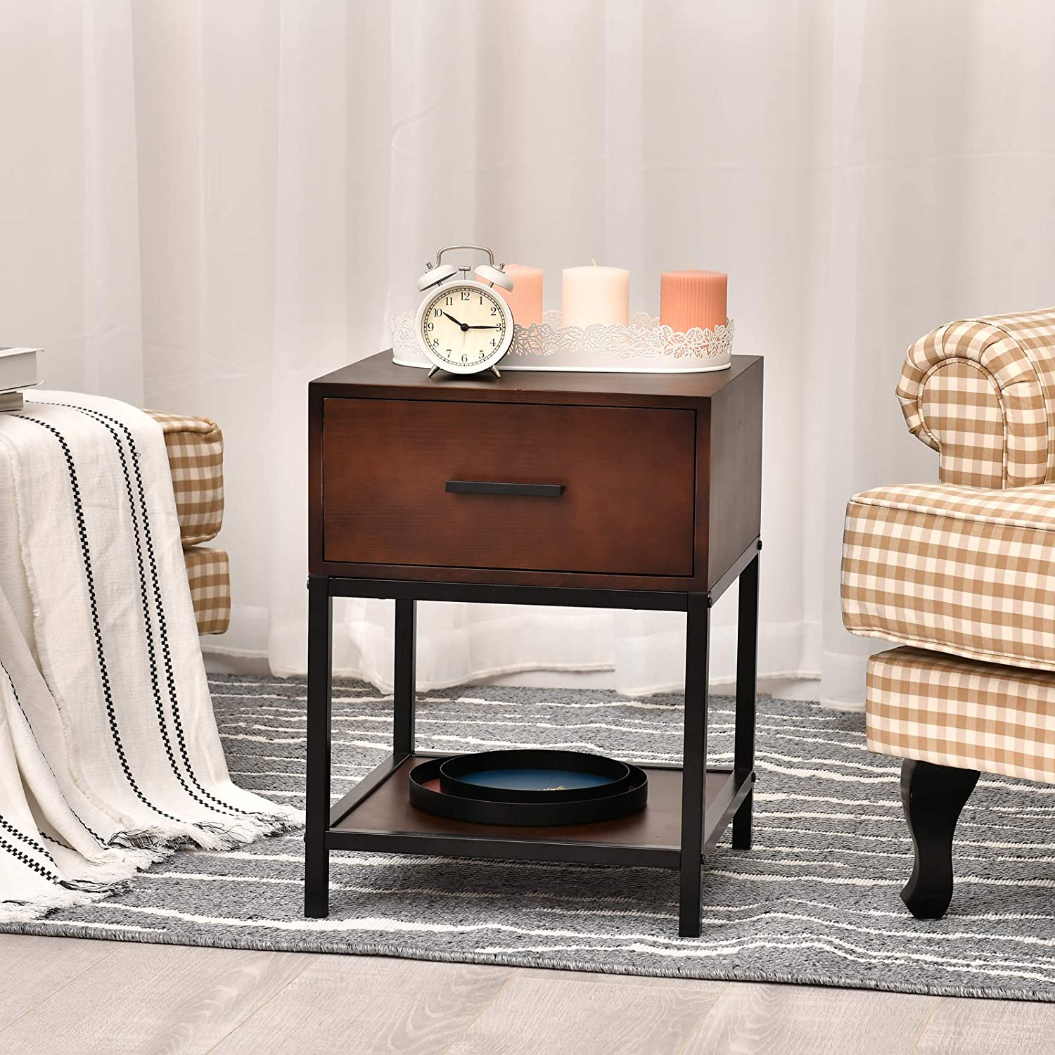 1 Drawer Nightstand Solid Wood End Table Side Table Bedside Storage Fo Wellandstore