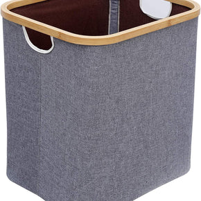Laundry Basket with Handles, Foldable Linen Laundry Hamper, 60L Bamboo Portable Cloth Hamper for Bathroom, Bedroom, Living Room