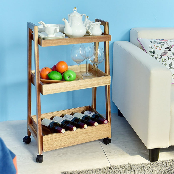 3-tier Wood Rolling Cart Kitchen Utility Cart Sturdy Display Shelf