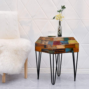 WELLAND Side Table Reclaimed Wood Nightstand 3D Trapezoid End Table