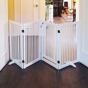 "32"" Freestanding Wood Pet Gate With Walk Through Door, 4 Panel Expands Up to 88"" Wide, White"