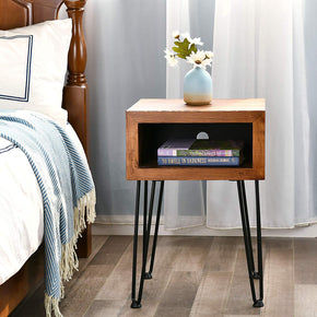 Solid Pine Wood Nightstand Edge End Table