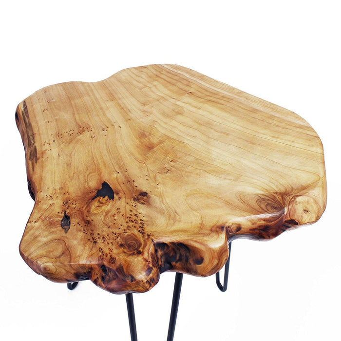 Cedar Wood Stump Stool Live Edge Surface Side Table With Hairpin Legs