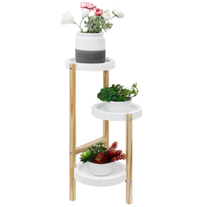 Welland Pine Wood 3 Tier Corner Plant Stand Tall Indoor Plant Holders Plant Display Rack for Outdoor Garden