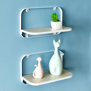 "Arlington Floating Shelves Set of 2, Folding Display Wall Shelves, 12"" W x 5"" D x 7.7"" H, White"