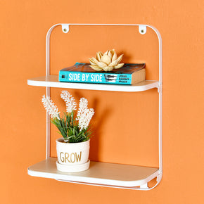 "Arlington 2-Tier Floating Shelf, Folding Display Wall Shelf, 12"" W x 5"" D x 15.5"" H, White"