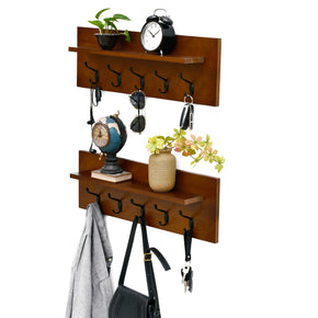 "WELLAND Set of 2 Wall Mounted Coat Rack Shelf ,24"" Solid Wood Coat Hooks with Storage Shelf for Entryway, Bathroom, Living Room, Bedroom"