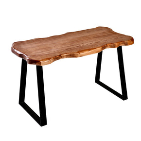 WELLAND Wood Entryway Bench with Metal Legs, Mid-century Modern Bench for Living Room, Indoor, Porch, Farmhouse