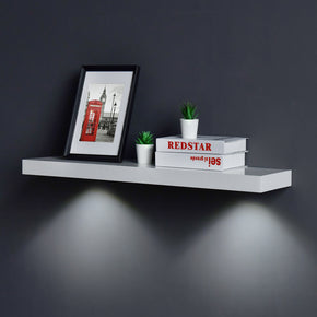 White Floating Shelf with Touch-Sensing Battery Powered LED Light Wall Mounted Display Shelves for Entrance, Living Room, Bedroom, Kitchen and Bathroom