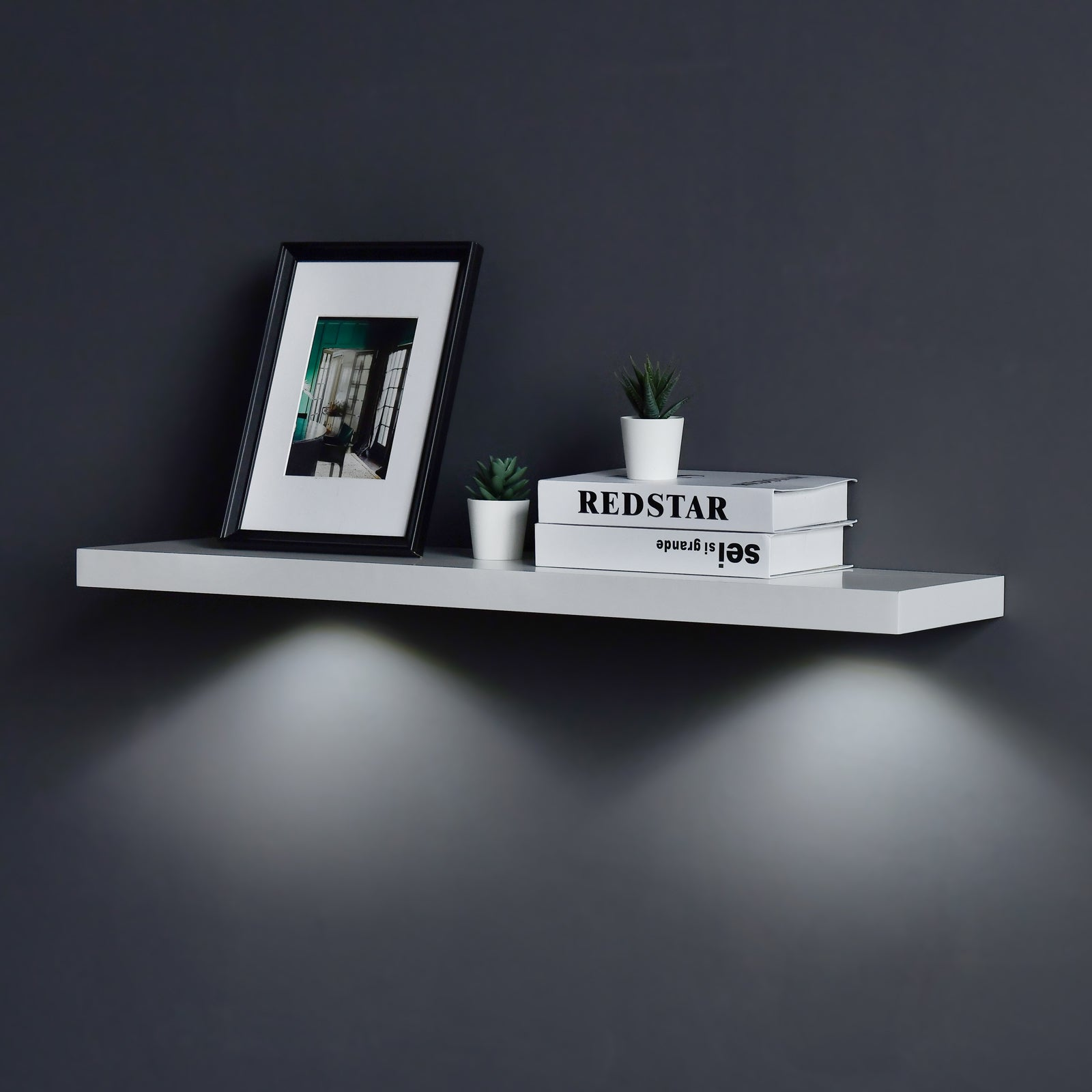 White Floating Shelf With Touch Sensing Battery Powered Led Light Wall Mounted Display Shelves For Entrance Living Room Bedroom Kitchen And Bathroom Wellandstore