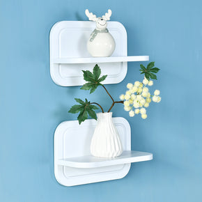 "Fremont 12"" Floating T Shelves Set of 2, Small Floating Shelves Showcase, White"