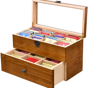 Double Layer Large Capacity Vintage Wood Tea Bag Box, Tea Storage Chests with Clear Lid & 2-Layer 14 Compartments