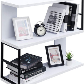 Modern Floating Bookshelf 3-Tier Bookcase Wall Mounted Shelf CD DVD Storage Display for Office, Bathroom, Kitchen,Livingroom (White)