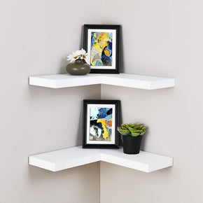 Floating Corner Shelf Set of 2, White