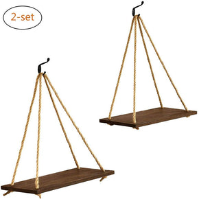 17-Inch Jute Rope Hanging Shelves Set Of Two